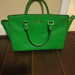 Michael Kors Green Selma Saffiano Leather Satchel